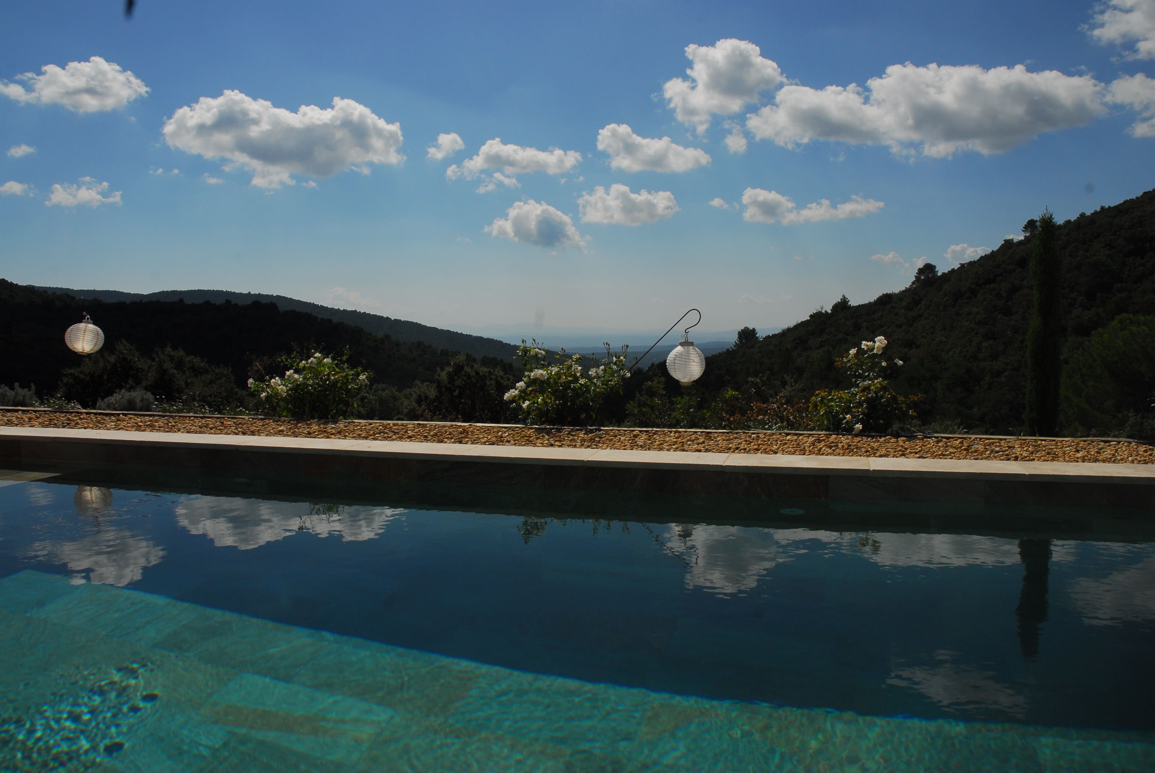 Pool with hills view